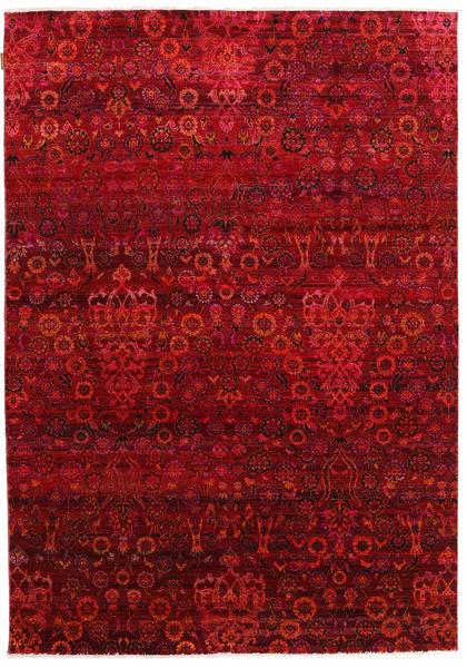 Sari Puri Di Seta Tappeto 173X247 Moderno Fatto A Mano Rosso/Rosso Scuro (Seta, India)