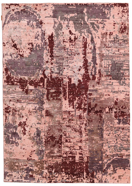 Himalaya Bamboo Silk Rug 167X238 Authentic  Modern Handknotted Dark Red/Light Pink ( India)