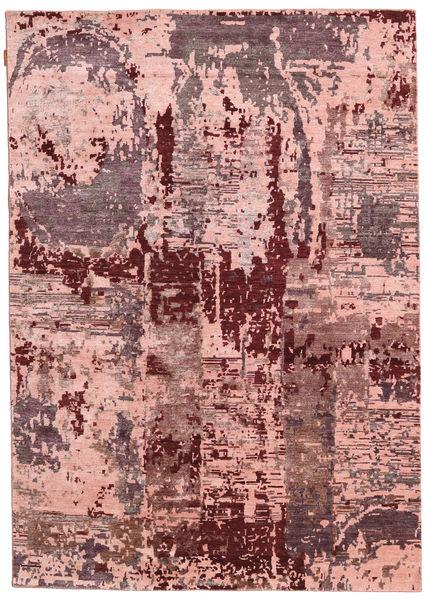 Himalaya Bamboe Zijde Vloerkleed 167X238 Echt Modern Handgeknoopt Donkerrood/Lichtroze ( India)