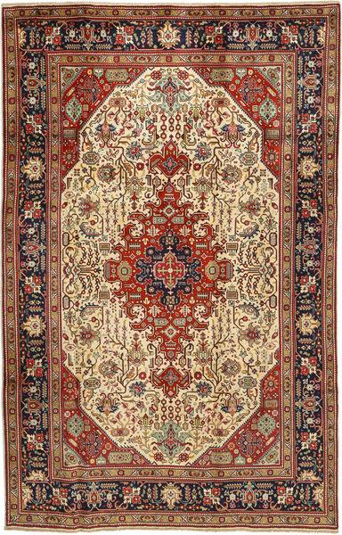 Tabriz Matto 197X312 Itämainen Käsinsolmittu Tummanpunainen/Vaaleanruskea (Villa, Persia/Iran)