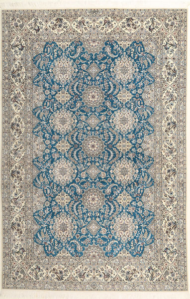 Nain 6La Habibian Rug 210X323 Authentic  Oriental Handknotted Light Grey/Light Brown (Wool/Silk, Persia/Iran)