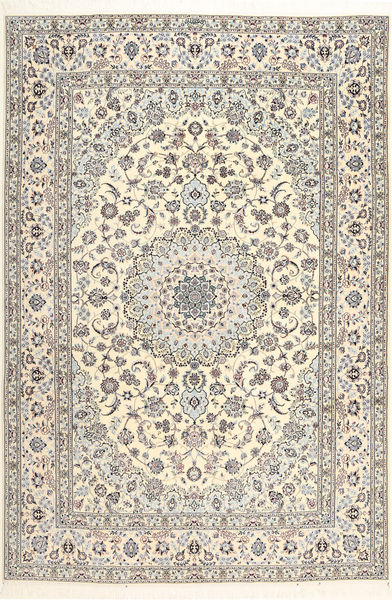Nain 6La Habibian Alfombra 207X307 Oriental Hecha A Mano Beige/Gris Claro (Lana/Seda, Persia/Irán)
