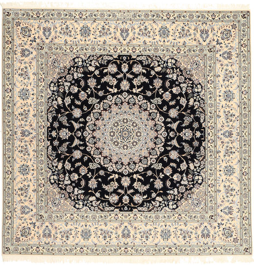 Nain 6La Habibian Rug 203X206 Authentic  Oriental Handknotted Square Light Brown/Black (Wool/Silk, Persia/Iran)