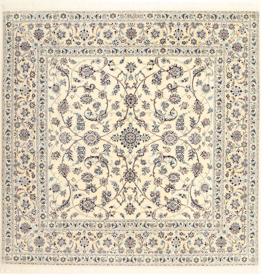 Nain 6La Habibian Matto 202X204 Itämainen Käsinsolmittu Neliö Beige/Vaaleanharmaa (Villa/Silkki, Persia/Iran)