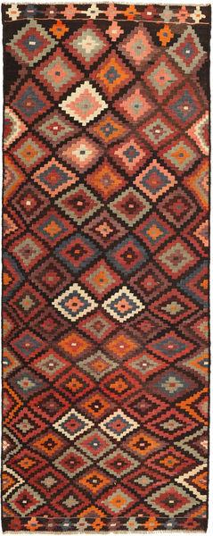 Kelim Fars Matto 147X375 Itämainen Käsinkudottu Käytävämatto Tummanpunainen/Vaaleanruskea (Villa, Persia/Iran)