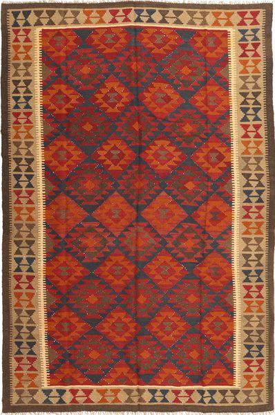 Kelim Maimane Teppe 198X298 Ekte Orientalsk Håndvevd Mørk Rød/Mørk Brun (Ull, Afghanistan)