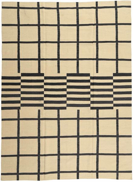 Kilim Modern Rug 209X286 Authentic  Modern Handknotted Beige/Dark Grey (Wool, Afghanistan)