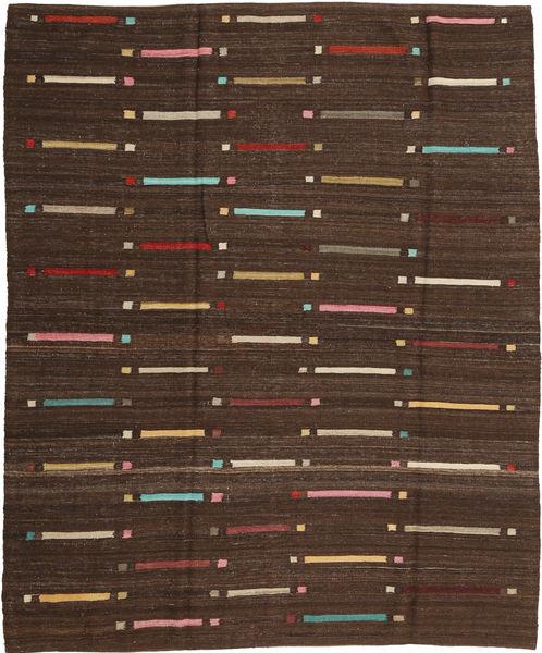 Kelim Moderni Matto 190X225 Moderni Käsinsolmittu Tummanruskea/Ruskea (Villa, Afganistan)