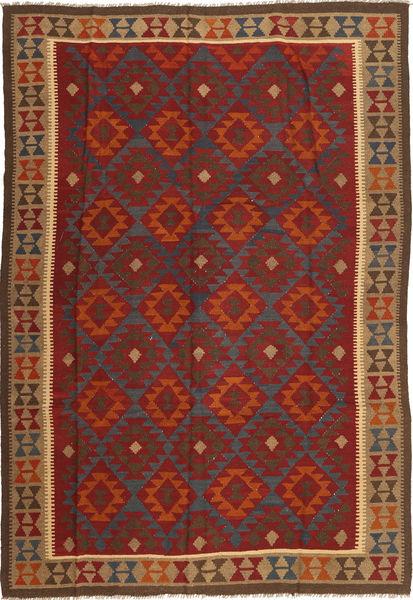 Kelim Maimane Matto 205X300 Itämainen Käsinkudottu Tummanpunainen/Ruskea (Villa, Afganistan)