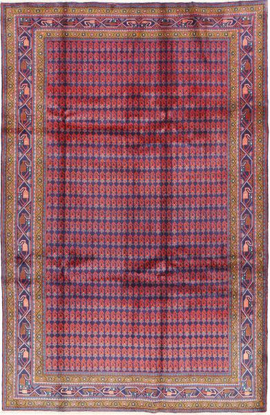 Sarough Matta 208X321 Äkta Orientalisk Handknuten Mörklila/Roströd (Ull, Persien/Iran)