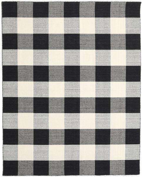 Check Kilim - Negru/White Covor 240X300 Modern Lucrate De Mână Gri Închis/Gri Deschis/Bej (Lână, India)