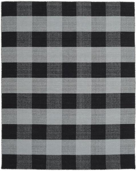 Check Kilim Rug 240X300 Authentic  Modern Handwoven Black/Light Grey/Light Blue (Wool, India)