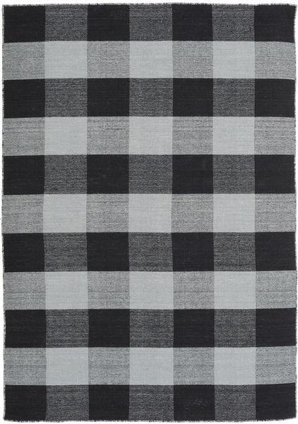 Check Kilim Matto 160X230 Moderni Käsinkudottu Vaaleanharmaa/Musta/Tummanharmaa (Villa, Intia)