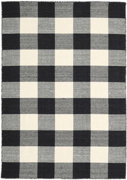 Check Kilim - Svart/Vit Teppe 160X230 Ekte Moderne Håndvevd Mørk Grå/Svart/Beige (Ull, India)