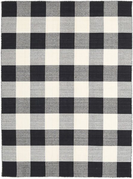 Check Kilim - Black/White Rug 210X290 Authentic  Modern Handwoven Light Grey/Black/Beige (Wool, India)