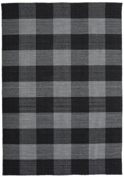 Check Kilim Matto 160X230 Moderni Käsinkudottu Musta/Violetti (Villa, Intia)