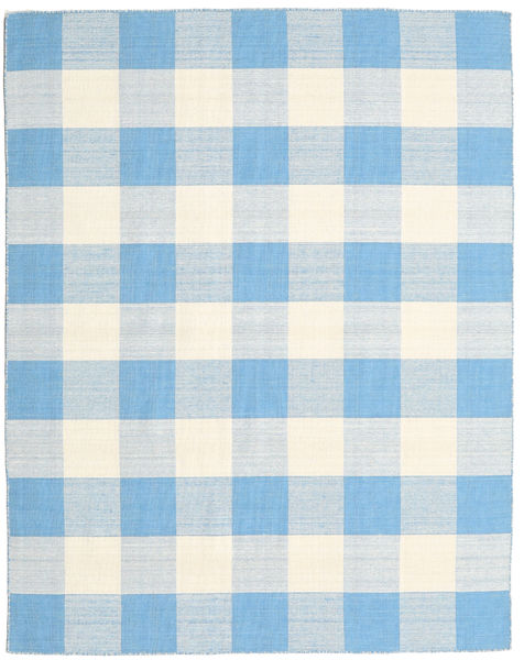 Check Kilim Rug 190X240 Authentic  Modern Handwoven Light Blue/Beige (Wool, India)