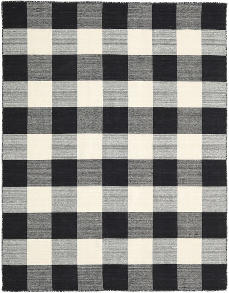 Check Kilim - Black/White Rug 190X240 Authentic  Modern Handwoven Black/Dark Grey/Light Grey (Wool, India)