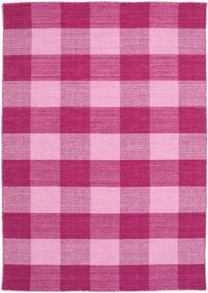 Check Kilim Tapete 140X200 Moderno Tecidos À Mão Rosa/Luz Rosa (Lã, Índia)