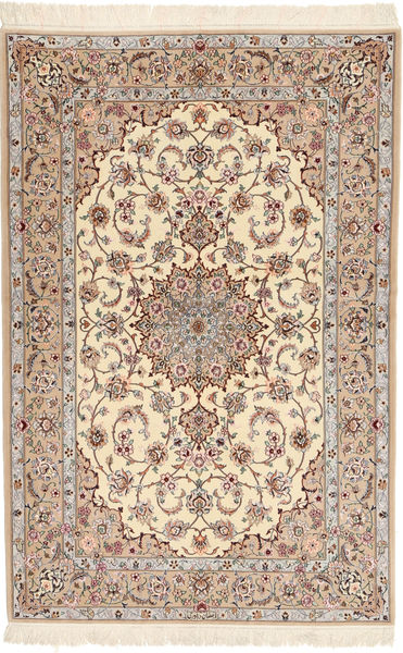 Isfahan Silk Warp Davudi Rug 130X202 Authentic  Oriental Handknotted Beige/Light Grey (Wool/Silk, Persia/Iran)