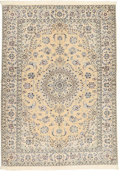 Naïn 6La Habibian Tapis 145X207 D'orient Fait Main Marron Clair/Beige (Laine/Soie, Perse/Iran)