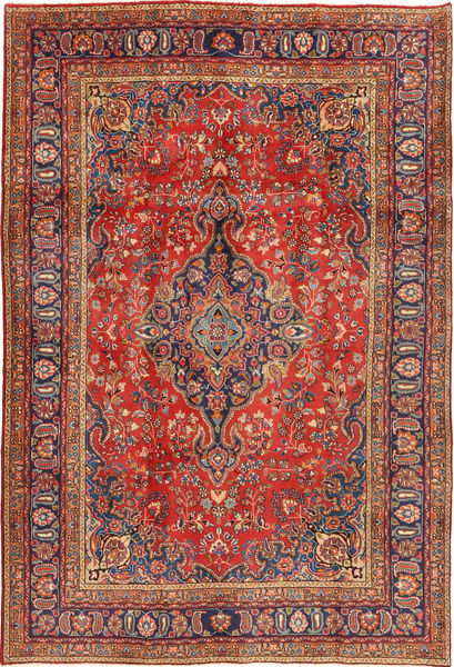 Mashad Rug 200X290 Authentic  Oriental Handknotted Dark Red/Rust Red (Wool, Persia/Iran)