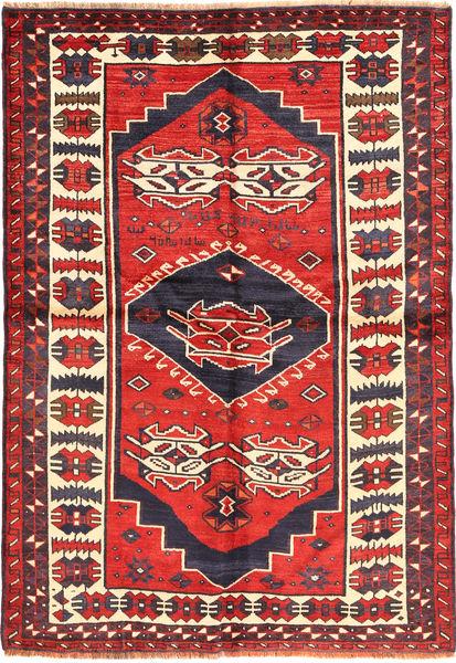 Lori Matta 153X220 Äkta Orientalisk Handknuten Mörklila/Mörkröd (Ull, Persien/Iran)