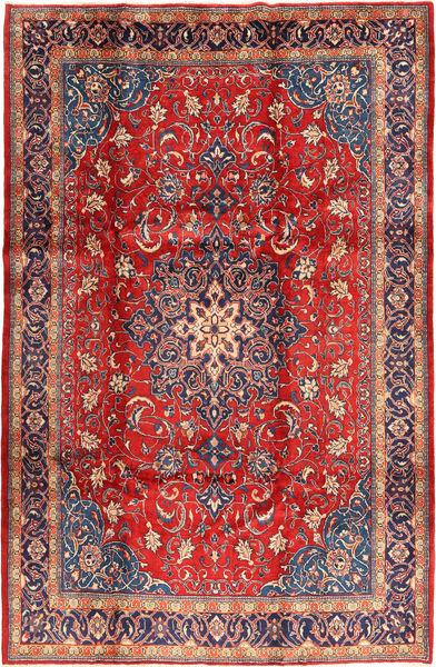 Sarouk Rug 220X333 Authentic  Oriental Handknotted Rust Red/Dark Red (Wool, Persia/Iran)