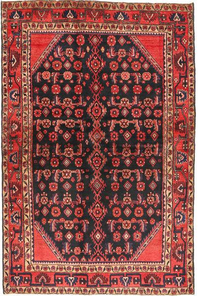 Hamadan Matto 136X203 Itämainen Käsinsolmittu Musta/Ruskea (Villa, Persia/Iran)