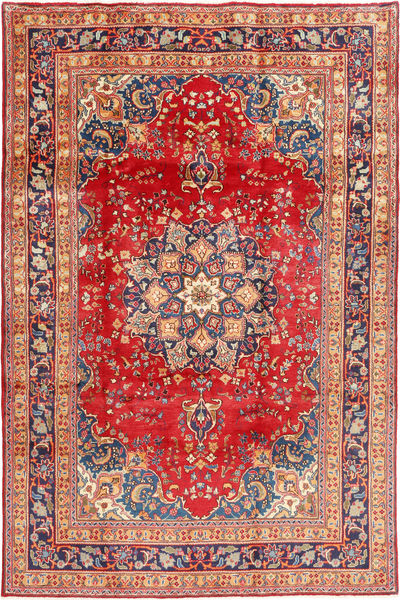 Mashad Rug 198X303 Authentic  Oriental Handknotted Light Brown/Rust Red (Wool, Persia/Iran)