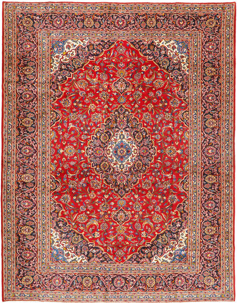 Keshan Rug 306X390 Authentic  Oriental Handknotted Rust Red/Brown Large (Wool, Persia/Iran)