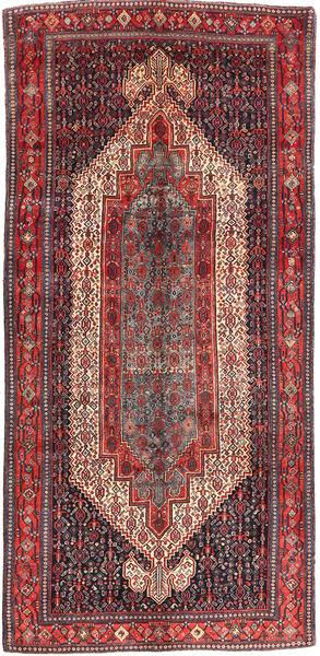 Senneh Rug 163X343 Authentic  Oriental Handknotted Hallway Runner  Dark Red/Dark Brown (Wool, Persia/Iran)