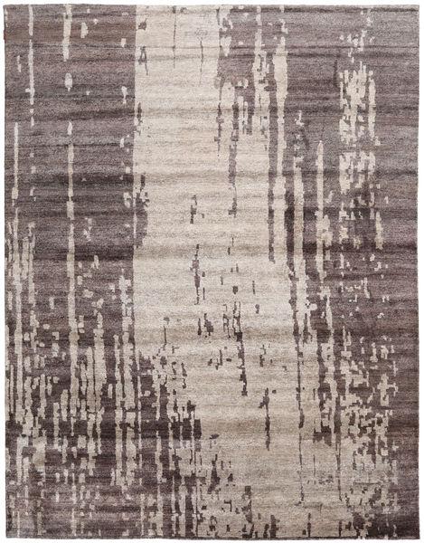 Nepal Original Covor 277X361 Modern Lucrat Manual Gri Deschis/Maro Închis Mare (Lână/Bambus Mătase, Nepal/Tibet)