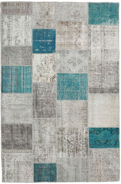 Patchwork Rug 198X302 Authentic  Modern Handknotted Light Grey/Blue (Wool, Turkey)