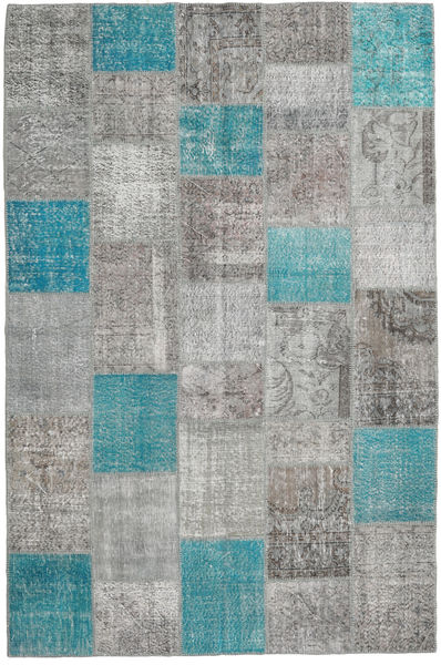 Patchwork Rug 198X302 Authentic  Modern Handknotted Light Grey/Turquoise Blue (Wool, Turkey)