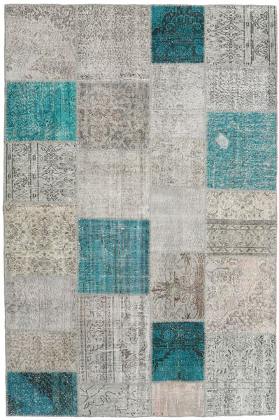 Patchwork Rug 197X298 Authentic  Modern Handknotted Light Grey/Turquoise Blue (Wool, Turkey)