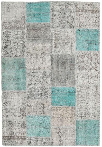 Patchwork Tapis 160X232 Moderne Fait Main Gris Clair/Gris Foncé (Laine, Turquie)