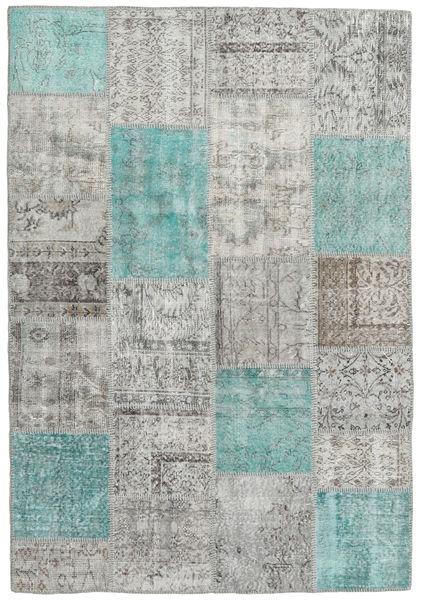 Patchwork Matto 159X231 Moderni Käsinsolmittu Vaaleanharmaa/Tummanharmaa (Villa, Turkki)