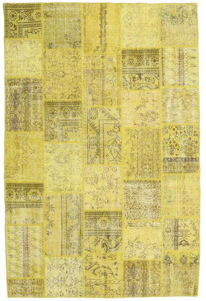 Patchwork Matto 198X303 Moderni Käsinsolmittu Keltainen/Oliivinvihreä (Villa, Turkki)