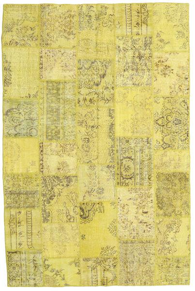 Patchwork Matto 199X298 Moderni Käsinsolmittu Keltainen/Oliivinvihreä (Villa, Turkki)