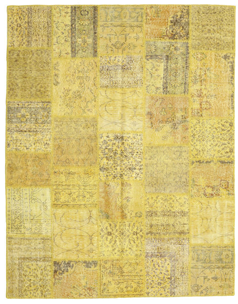 Patchwork Rug 199X254 Authentic  Modern Handknotted Yellow/Olive Green (Wool, Turkey)