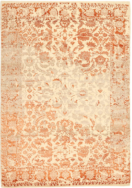 Roma Moderne Collection Vloerkleed 203X297 Echt Modern Handgeknoopt Donkerbeige/Beige ( India)
