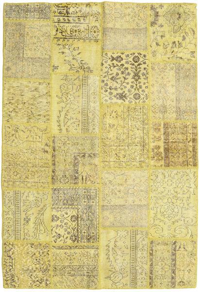 Patchwork Matto 159X230 Moderni Käsinsolmittu Keltainen/Vaaleanvihreä (Villa, Turkki)