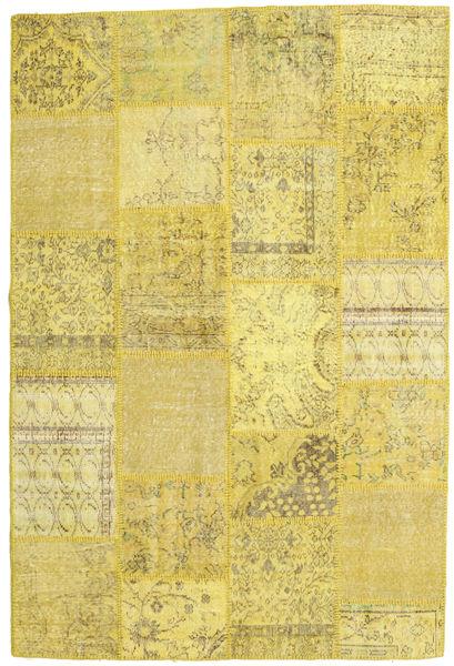 Patchwork Matto 159X238 Moderni Käsinsolmittu Keltainen/Oliivinvihreä (Villa, Turkki)