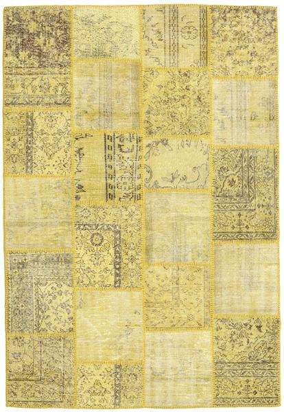 Patchwork Matto 160X235 Moderni Käsinsolmittu Keltainen/Oliivinvihreä (Villa, Turkki)