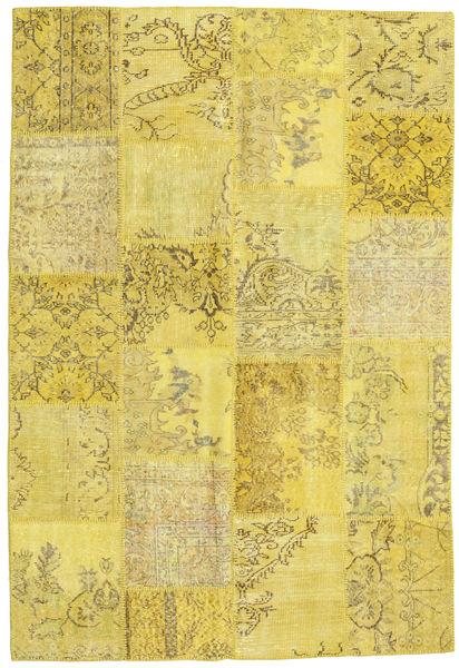 Patchwork Matto 158X232 Moderni Käsinsolmittu Keltainen/Oliivinvihreä (Villa, Turkki)