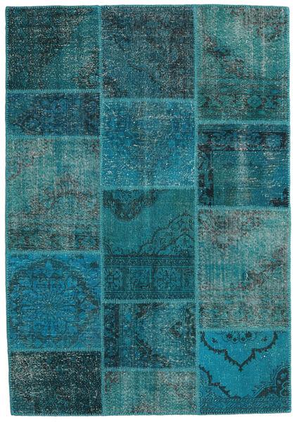 Patchwork Alfombra 159X232 Moderna Hecha A Mano Turquesa Oscuro/Azul Oscuro (Lana, Turquía)