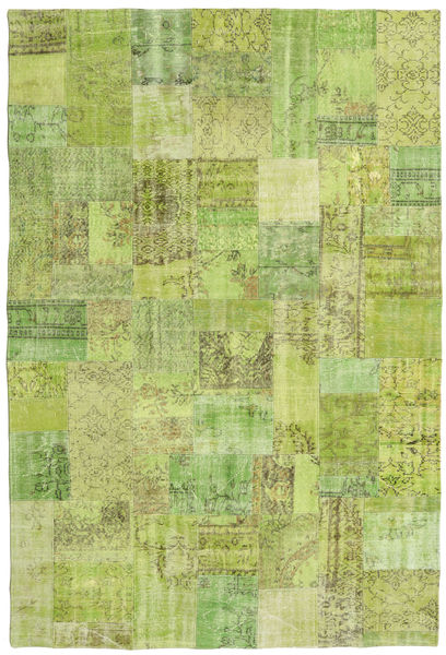 Patchwork Rug 203X301 Authentic  Modern Handknotted Light Green/Olive Green (Wool, Turkey)