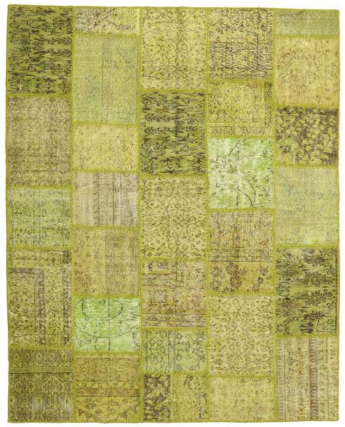 Patchwork Teppe 199X249 Ekte Moderne Håndknyttet Olivengrønn/Gul (Ull, Tyrkia)
