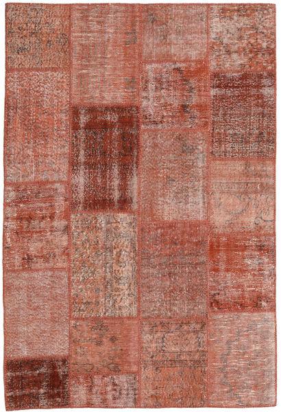 Patchwork Matto 158X231 Moderni Käsinsolmittu Ruskea/Vaaleanpunainen (Villa, Turkki)
